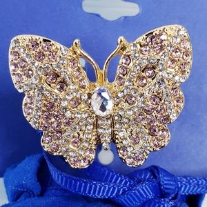 MONET Stretch Butterfly Ring Statement Jewelry New
